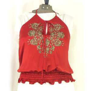 Luxe Silk Embroidered Keyhole Halter Neck Blouse